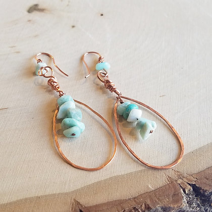 Hammered Falling Teardrop Copper & Amazonite Earrings