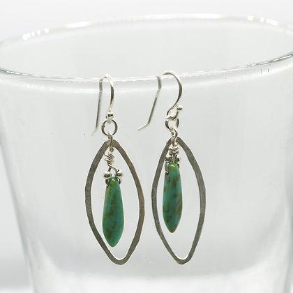 Oval Dagger Turquoise Earrings