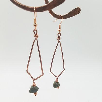Copper Diamond Shape Earrings with Unikate