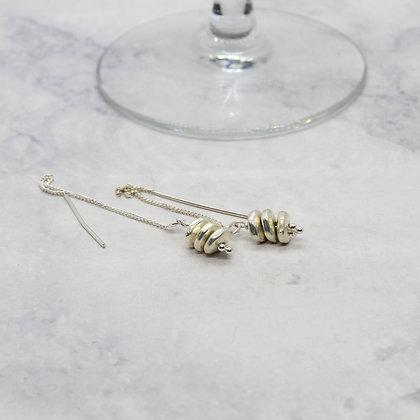 Dahlia Two  Disk  Threader Earrings