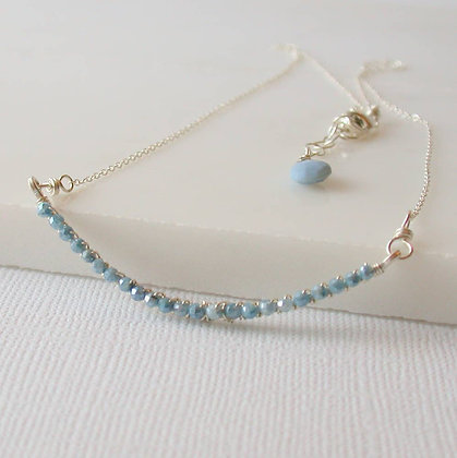 Wrapped Blue Opal Bar Necklace