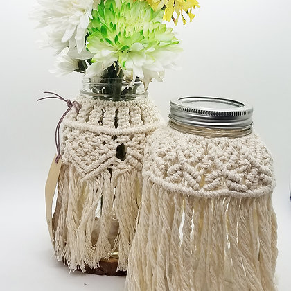 Forget Me Knots Macrame Jar Wraps-Larg