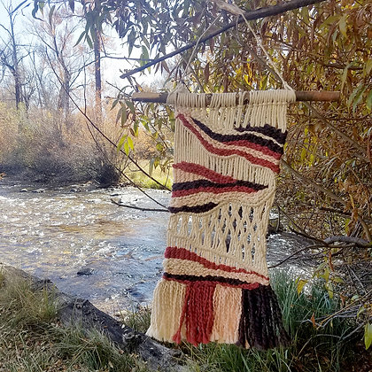 "Large ""Red Rocks"" Macrame/Woven Wall Hanging"