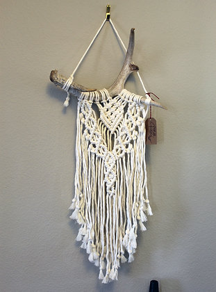 ONE-OF-A-KIND Forget Me Knots Antler Wall Hanging-Medium