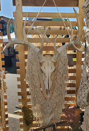 ONE-OF-A-KIND Forget Me Knots Macrame Deer Skull Wall Hanging