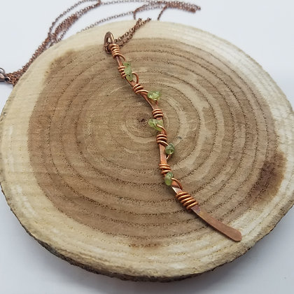 Curvy Copper Wrapped Bar Necklace with Peridot Gemstones