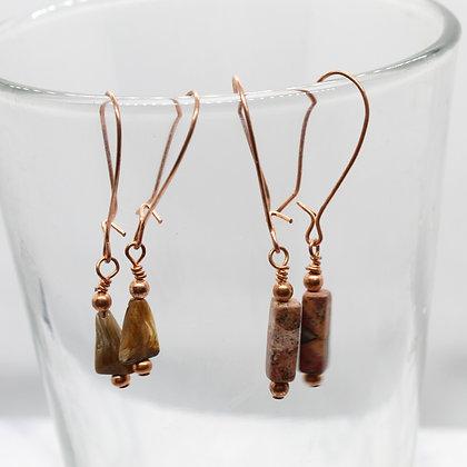 Copper Mini Drop Earrings