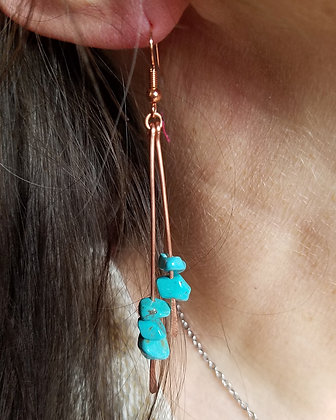 Hammered Copper & Turquoise Double Bar Dangle Earrings