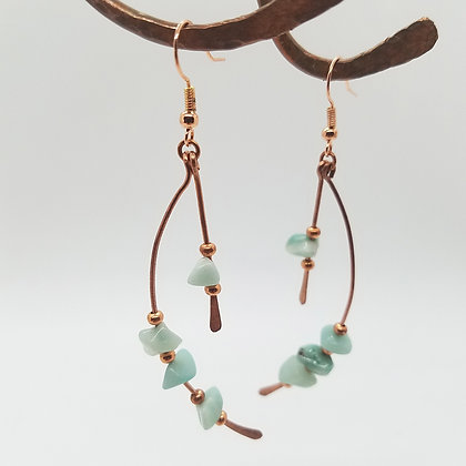 Curved Copper & Amazonite Double Bar Dangle Earrings