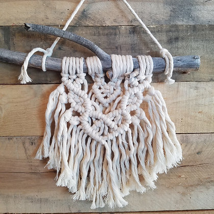 Forget Me Knot Macrame Double Heart Wall Hanging