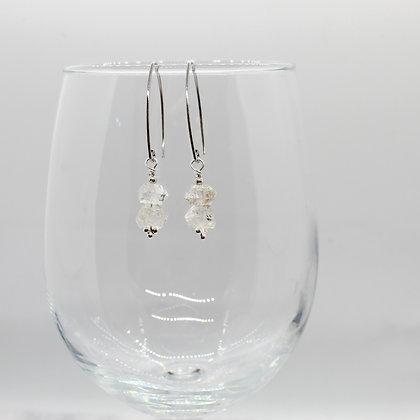 Double Dangle Herkimer Diamond Earrings