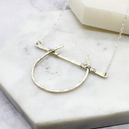 Hammered Horseshoe Bar Necklace
