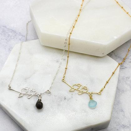 Bird on a Branch Gemstone Necklace