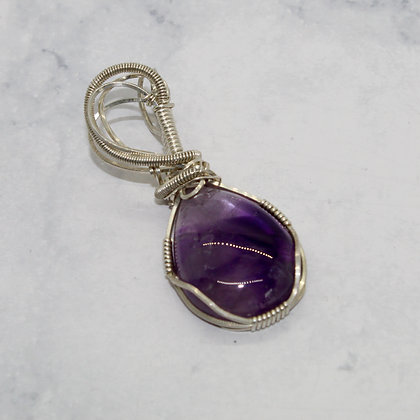 Cabochon Amethyst Wire Wrapped Pendant