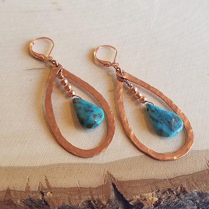 Hammered Copper & Turquoise Teardrop Earrings