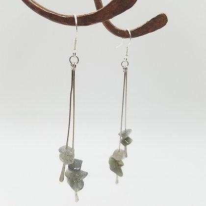 Sterling Silver & Labradorite Double Bar Dangle Earrings