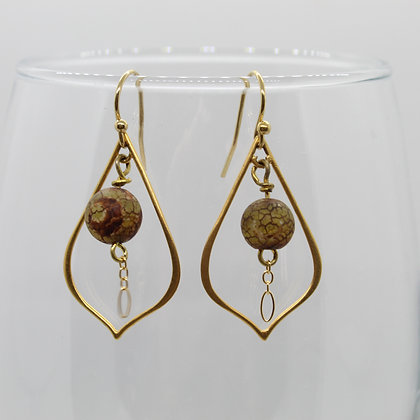 Teardrop Crackle Agate Earrings