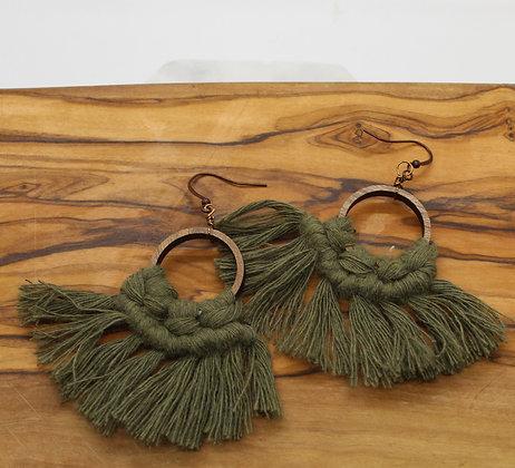 Forget Me Knots Macrame Walnut Circle Earrings
