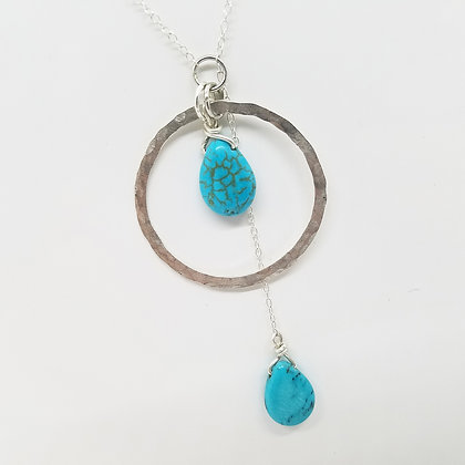 Sterling Silver Hammered Circle Necklace with Kingman Turquoise