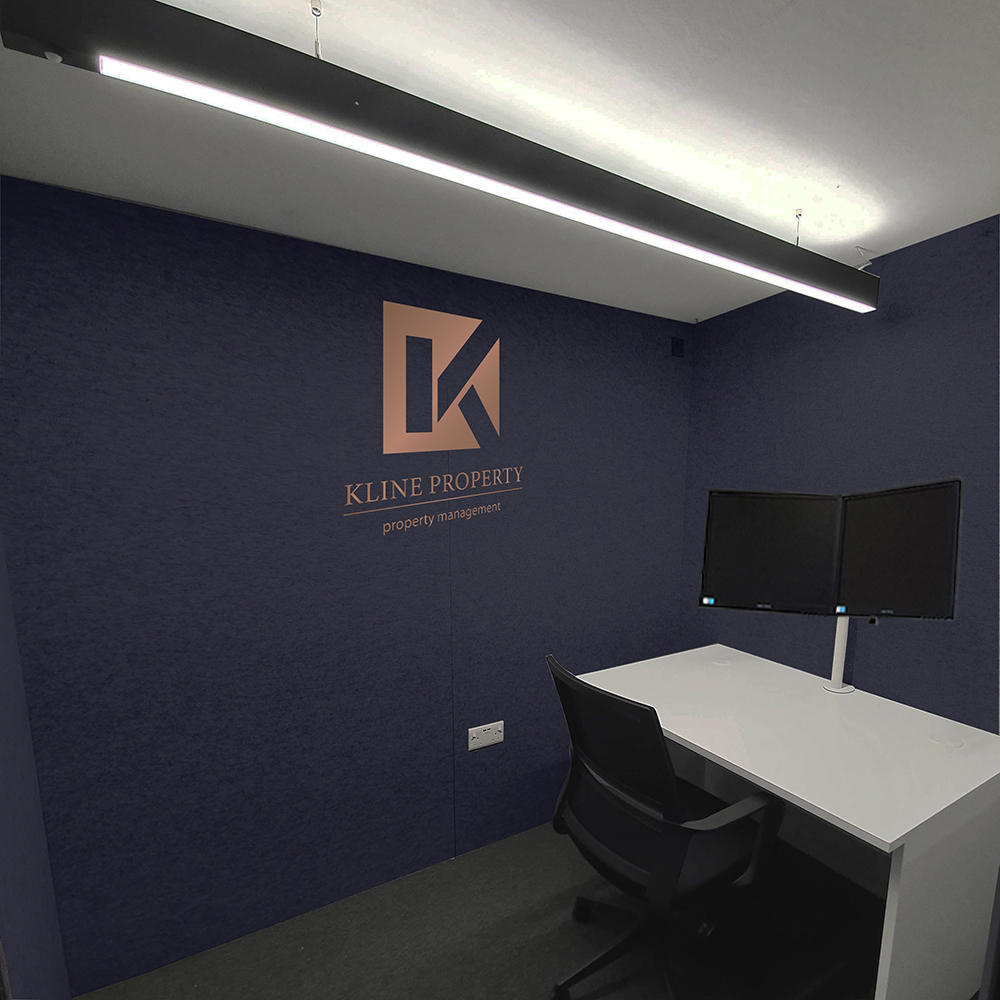 kline property home office pod branding
