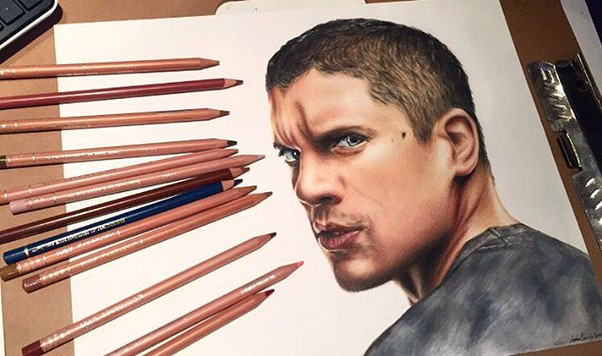 Wentworth Miller Coloured Pencil Drawing