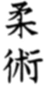 The Japanese kanji writing with the symbols for jiu jitsu
