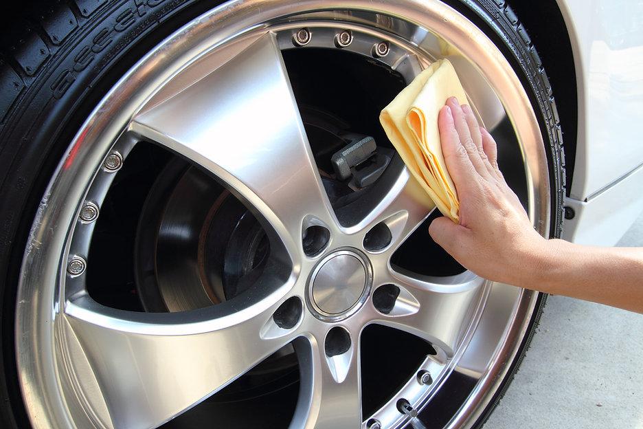 Polishing Car Wheel.