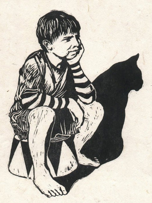 Circus Catboy Linocut