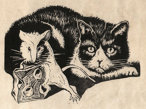 Cat and Mouse Linocut