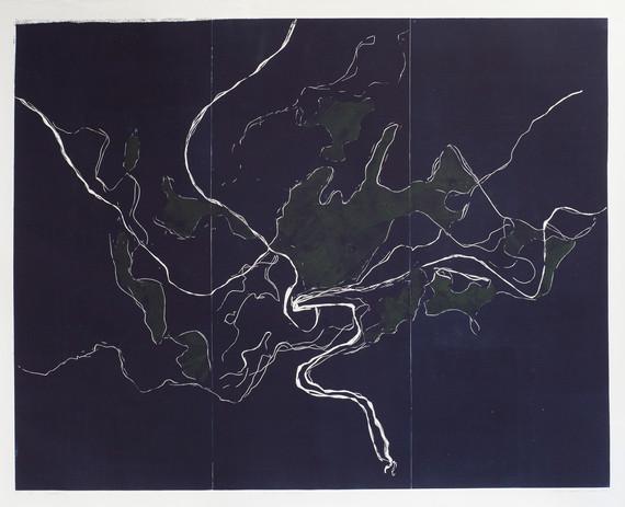 Definable territory, linocut, 150 x 110 cm, 2017