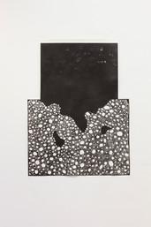 Finding simple memory store, linocut, 150 x 100 cm, 2017