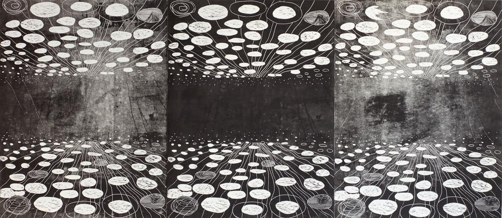 Responding rotunda, linocut, 240 x 100 cm, 2017