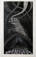 Exit, linocut, 180 x 110 cm, 2019
