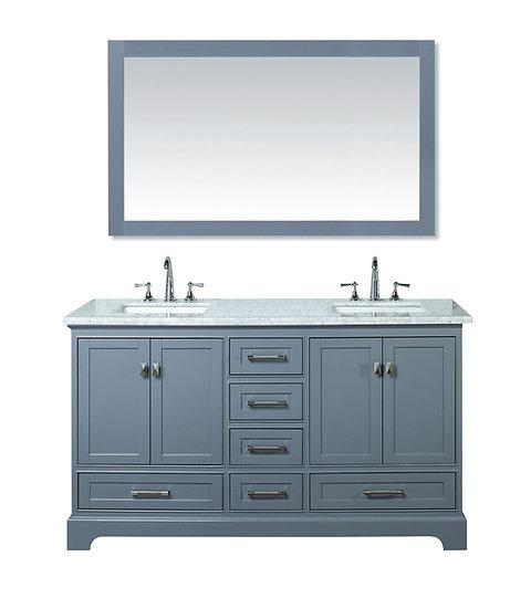 """Newport Grey 60"""" Double Sink Vanity with Mirror"""