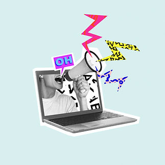 Shouting out your own thoughts online. Man with megaphone in laptop. Modern design, contem