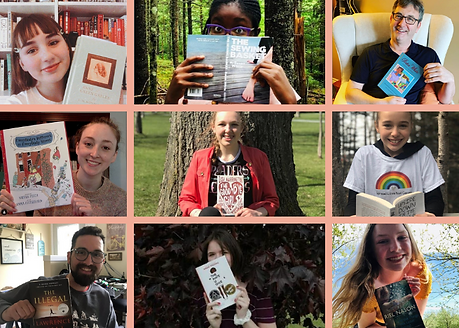 A collage of people of all ages smiling and holding books they're currently reading