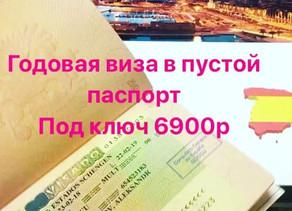 виза в Испанию на год в пустой паспорт
