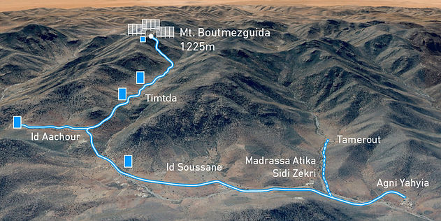 this maps shows how the water pipes connect the CloudFisher on Mount Boutmezguida to 16 villages.