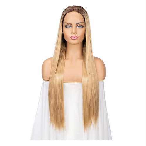 "28"" Straight Synthetic Blonde Lace Front Wig"