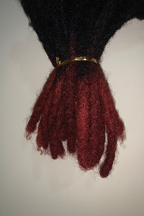 Black Dreadlock with Burgundy Tips