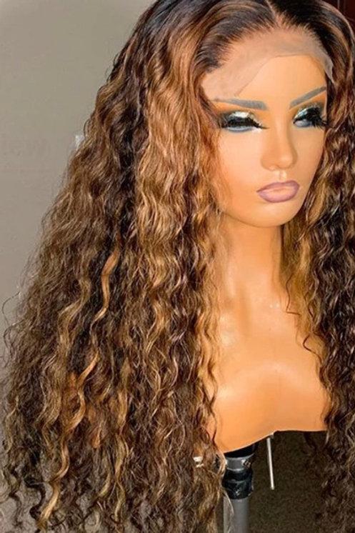 """10a #1B 4/30 18"""" Brazilian Virgin WaterWave Lace Front Wig"""