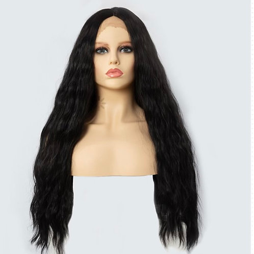 "30"" Ocean Wave Synthetic Jet Black Lace Front Wig"