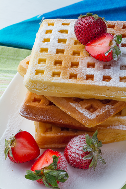 Waffle and strawberries