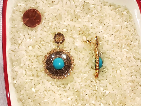Turquoise and Cubic Zirconia Earrings...SOLD