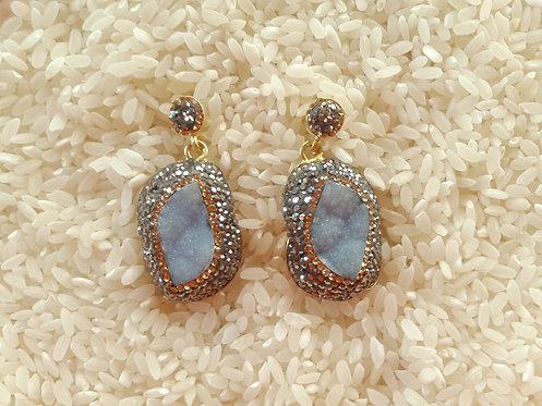 Dark Blue Druzy Earrings...SOLD