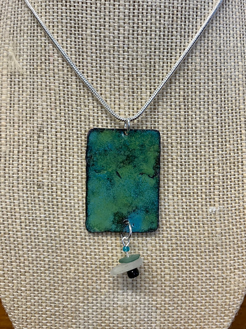 Handmade Sea Glass and Enamel Necklace