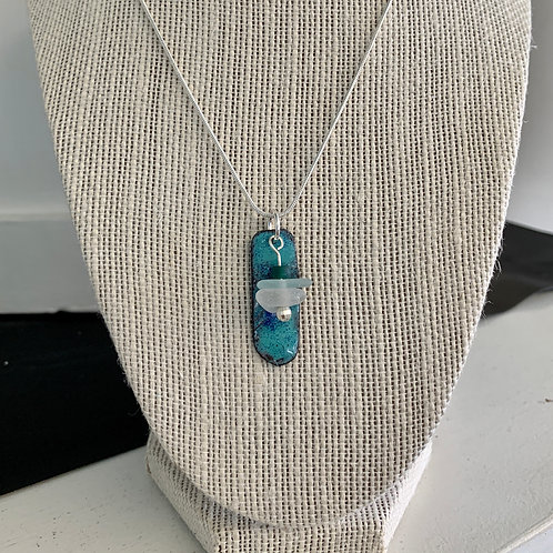 Frosted White Seaglass and Teal/Blue Enamel Necklace