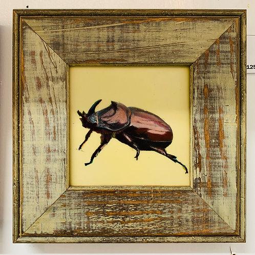 Rhinocerous Beetle Encaustic Painting