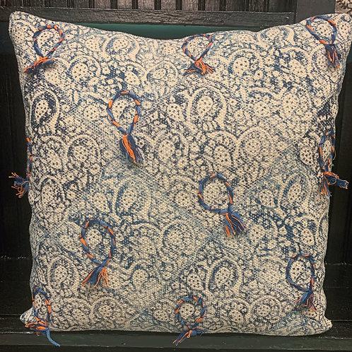 Indigo Tasseled Color Blocked Pillow
