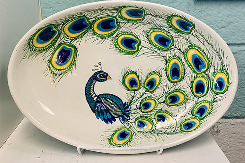 Hand Painted Peacock Oval Serving Tray